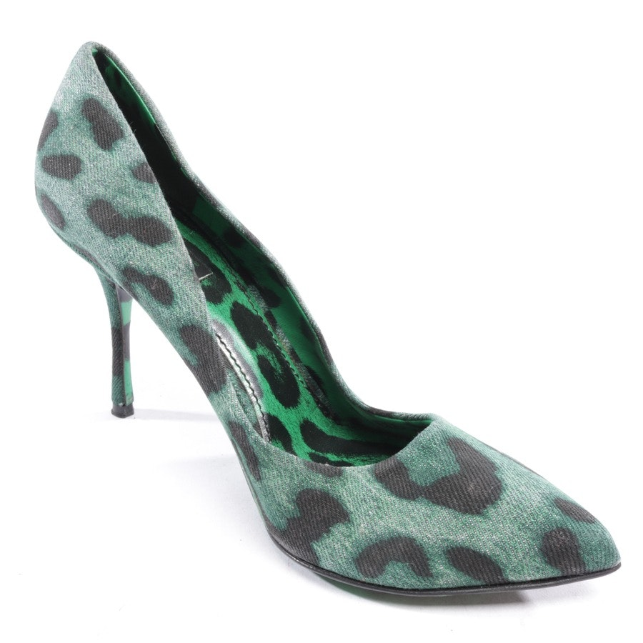 pumps from Dolce & Gabbana in green mottled and black size D 40