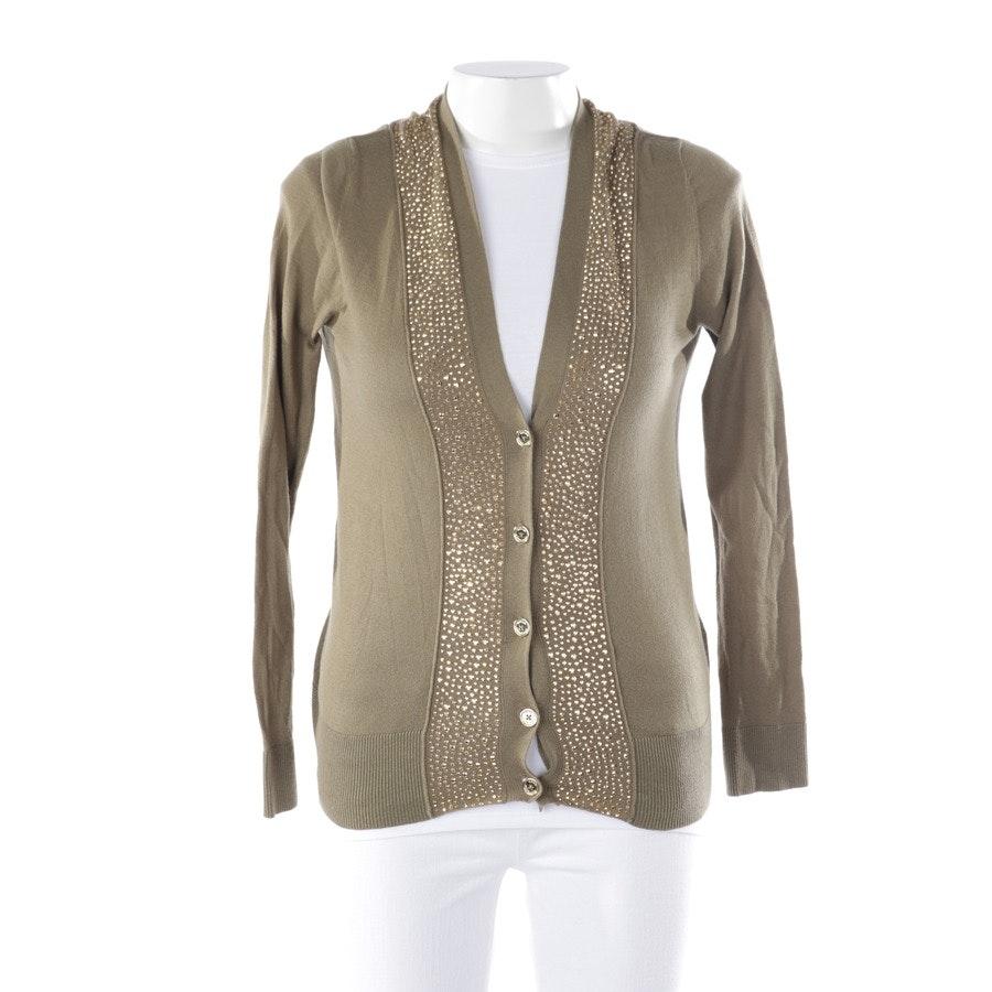 Strickjacke von Michael Kors in Khaki und Gold Gr. M - Kaschmiranteil