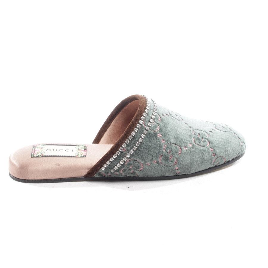 Mules von Gucci in Grün und Rosa Gr. EUR 36 - Velvet Crystal Queen Slippers