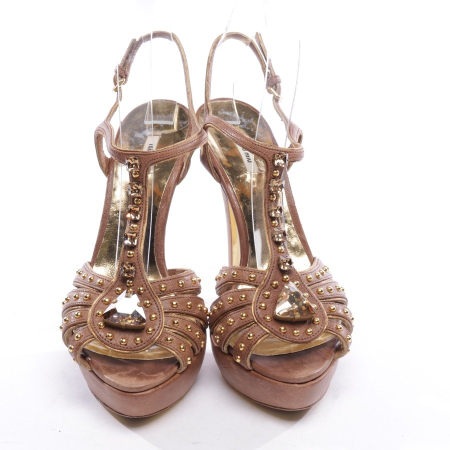 heeled sandals from Miu Miu in beige brown and gold size D 38