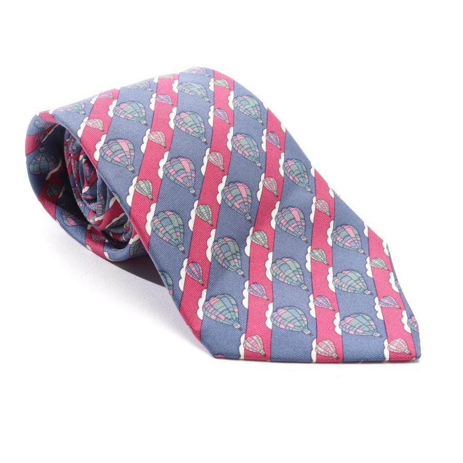 Seidenkrawatte von Hermès in Taubenblau und Rot