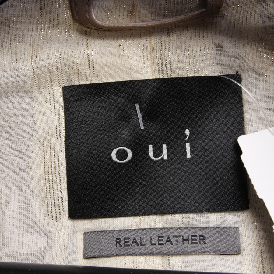 leather jacket from Oui in nougat and grey size 38