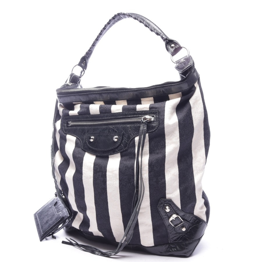 shoulder bag from Balenciaga in offwhite and black - classic day