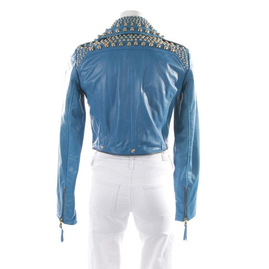 Lederjacke von Just Cavalli in Blau und Gold Gr. 34 IT 40