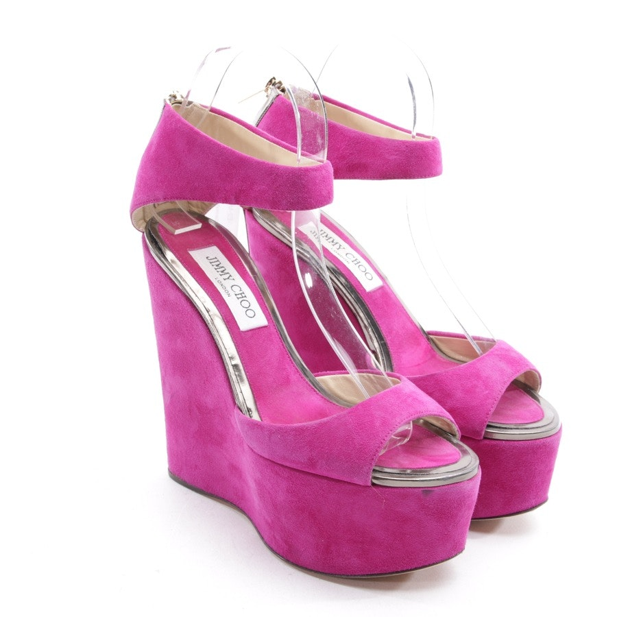 heeled sandals from Jimmy Choo in fuchsia and brown size D 37