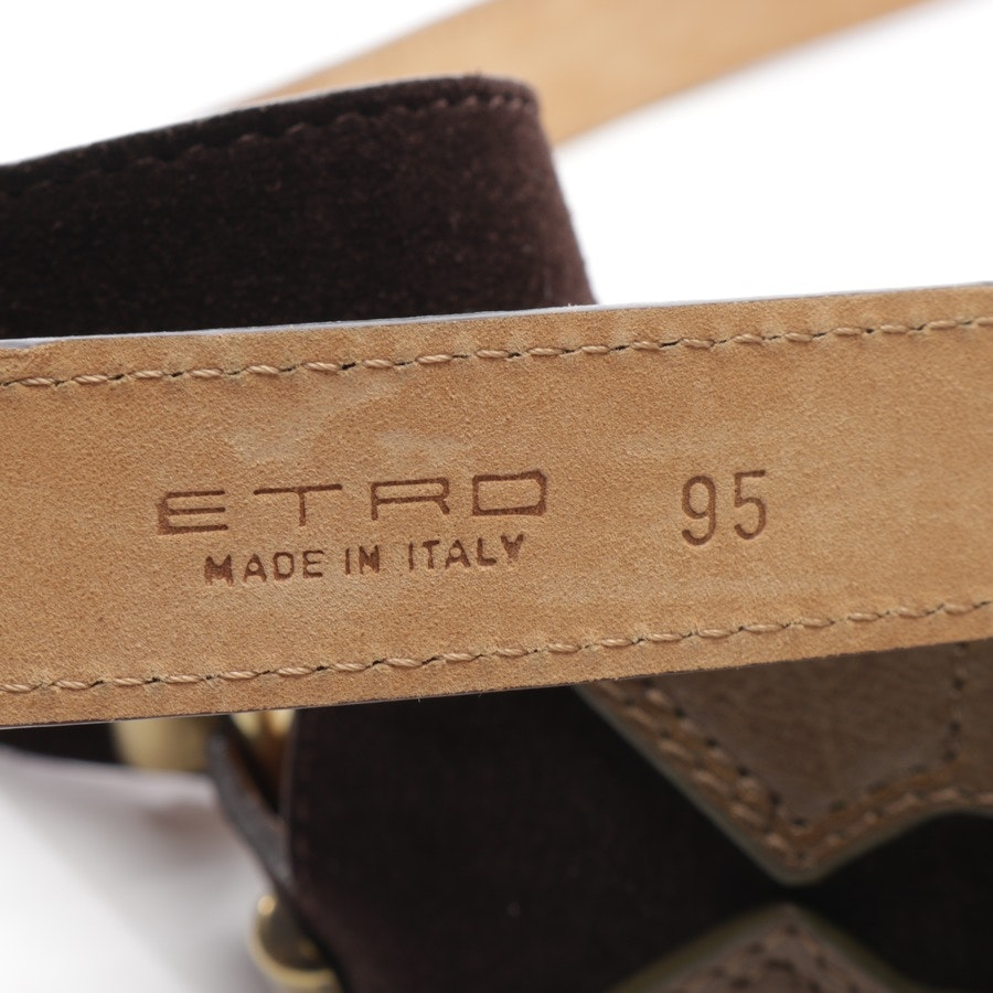 belt from Etro in dark brown and green size 95 cm