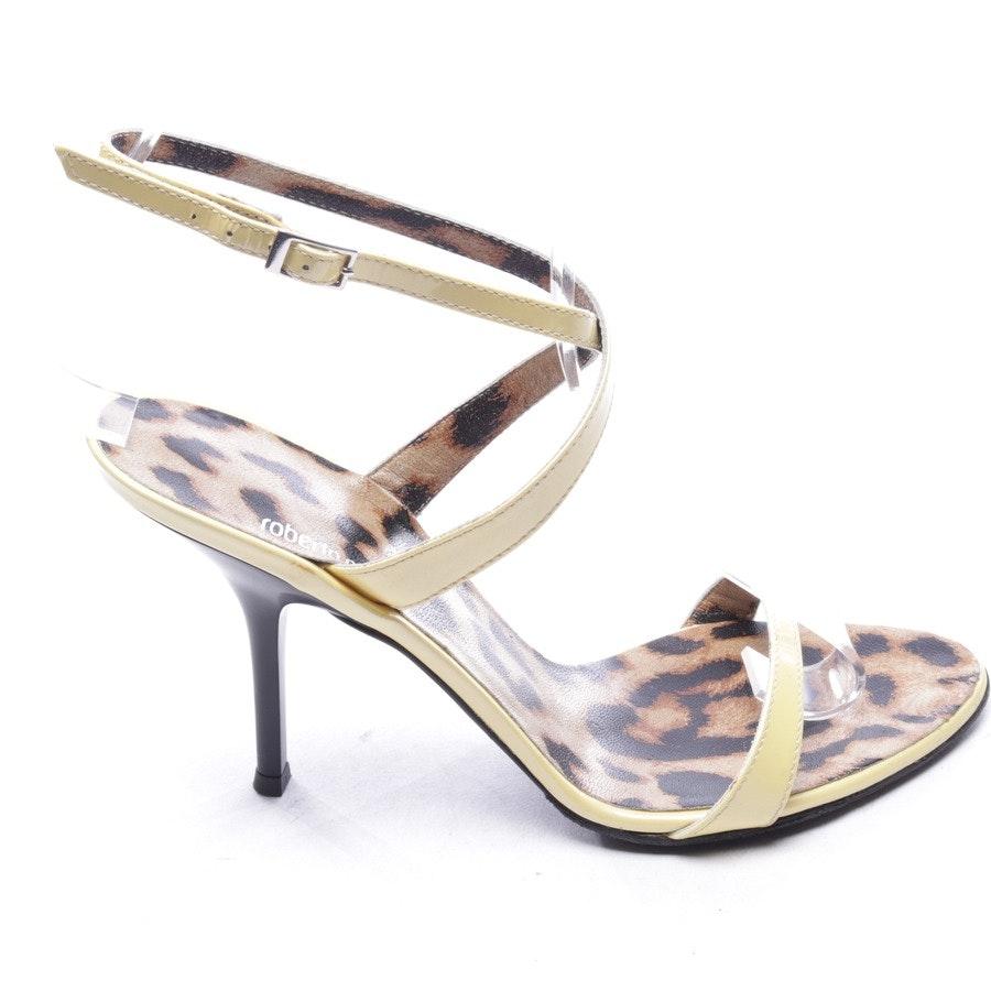 Sandaletten von Roberto Cavalli in Pastellgelb Gr. D 37,5 - Neu