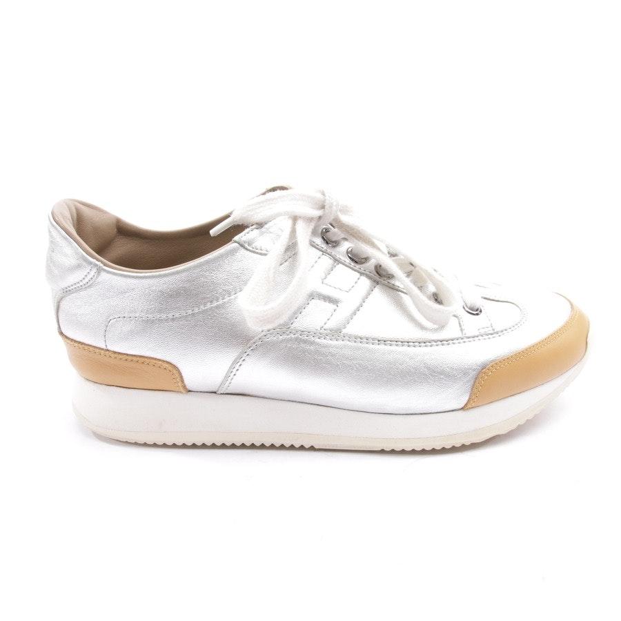 Sneaker von Hermès in Silber und Beige Gr. D 36