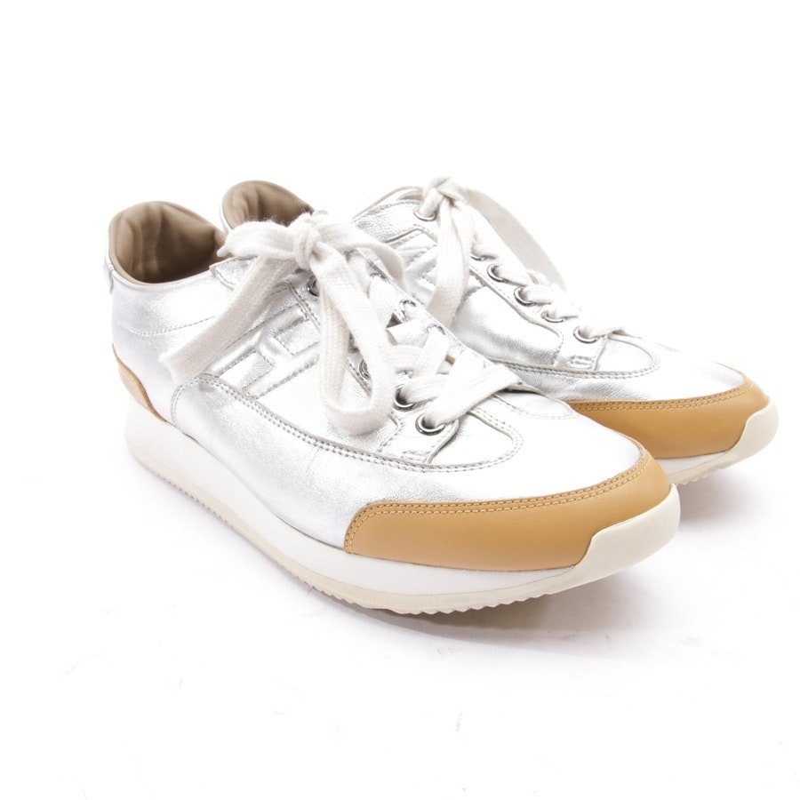 trainers from Hermès in silver and beige size D 36