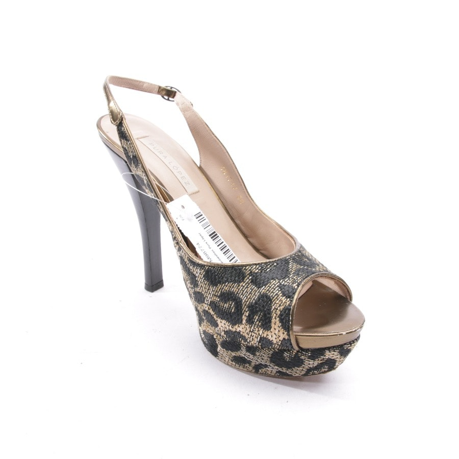 heeled sandals from Pura López in black and beige size D 38