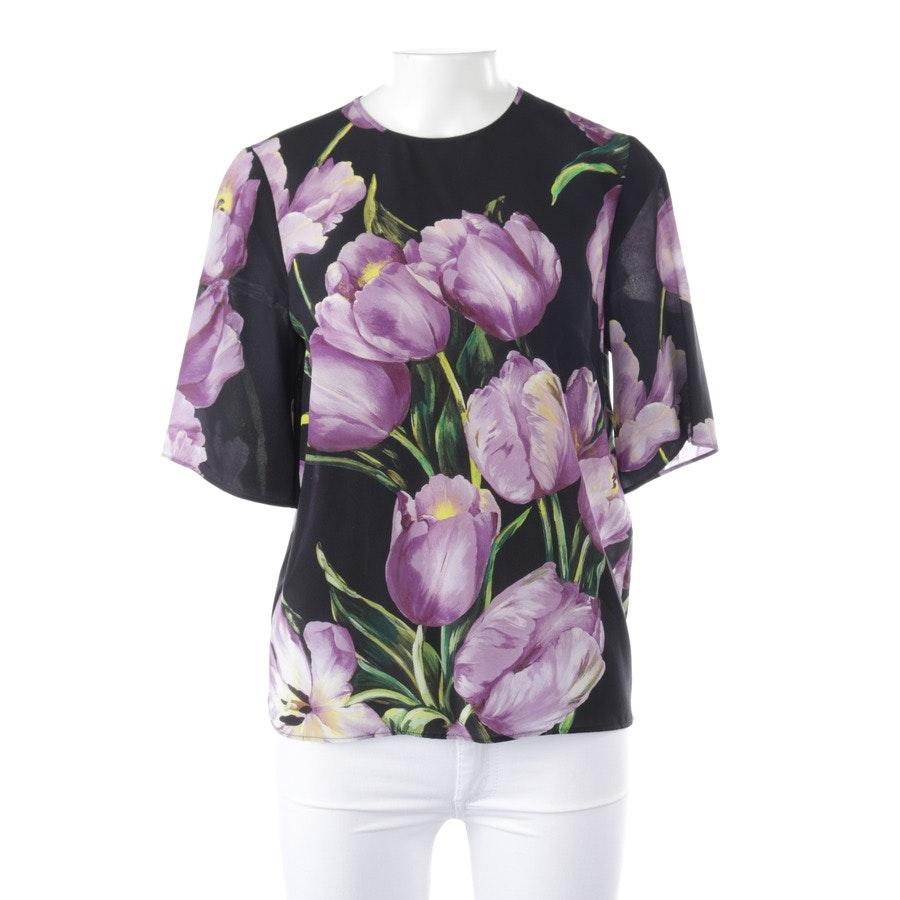 Seidenblusenshirt von Dolce & Gabbana in Schwarz und Lila Gr. 32 IT 38 - Neu