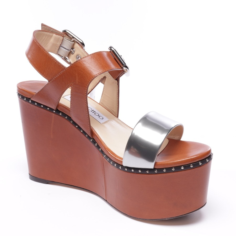 heeled sandals from Jimmy Choo in cognac and silver size EUR 39,5