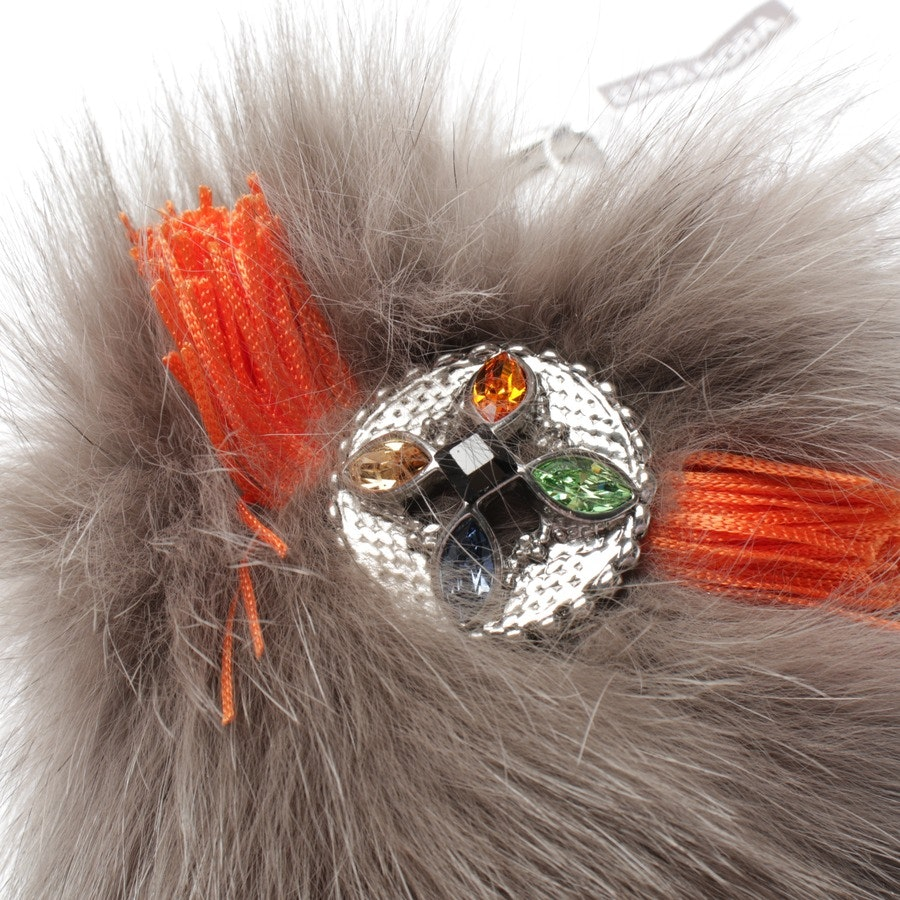 bag charms from Gabriele Frantzen in taupe and orange - new - fur