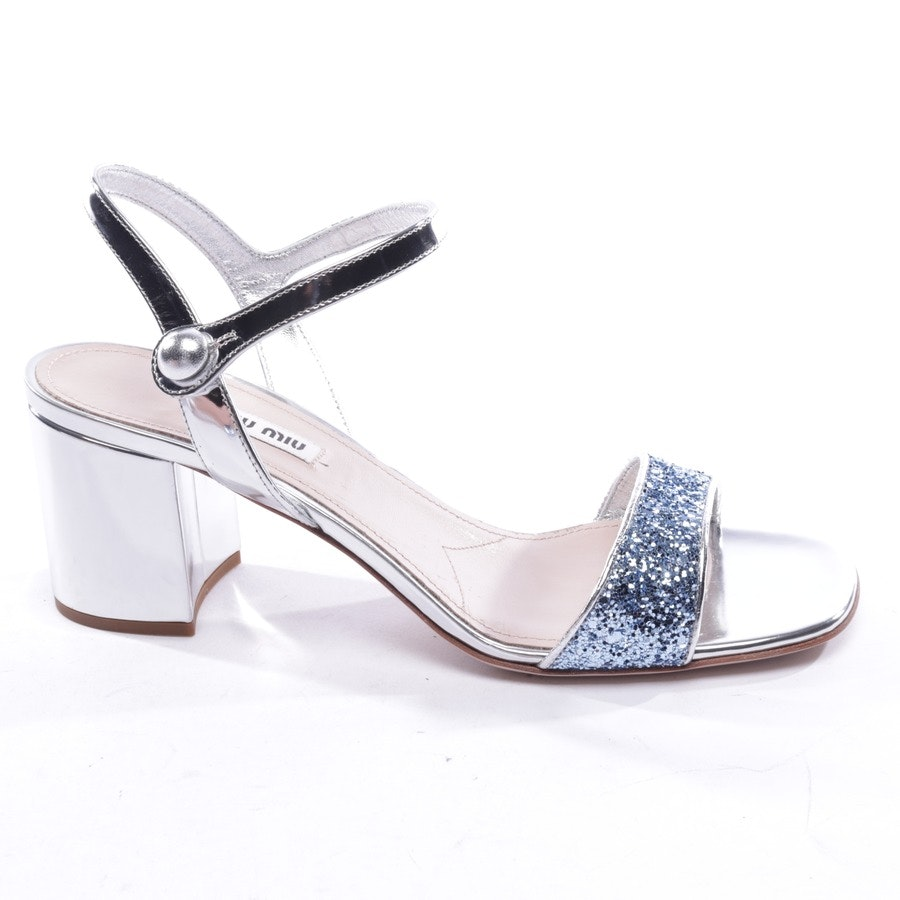 heeled sandals from Miu Miu in silver and blue size EUR 40,5 - new