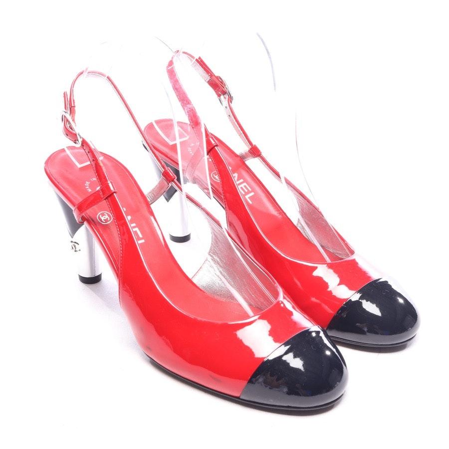 Slingbacks von Chanel in Rot und Schwarz Gr. D 40,5