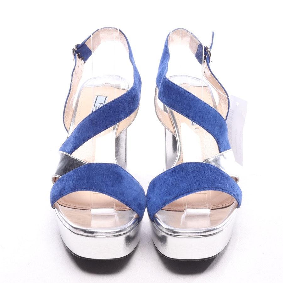 Sandaletten von Prada in Silber und Blau Gr. EUR 38