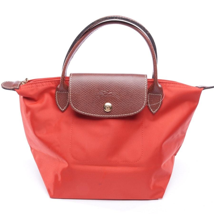 Handtasche von Longchamp in Korallenrot und Braun - Le Pliage S