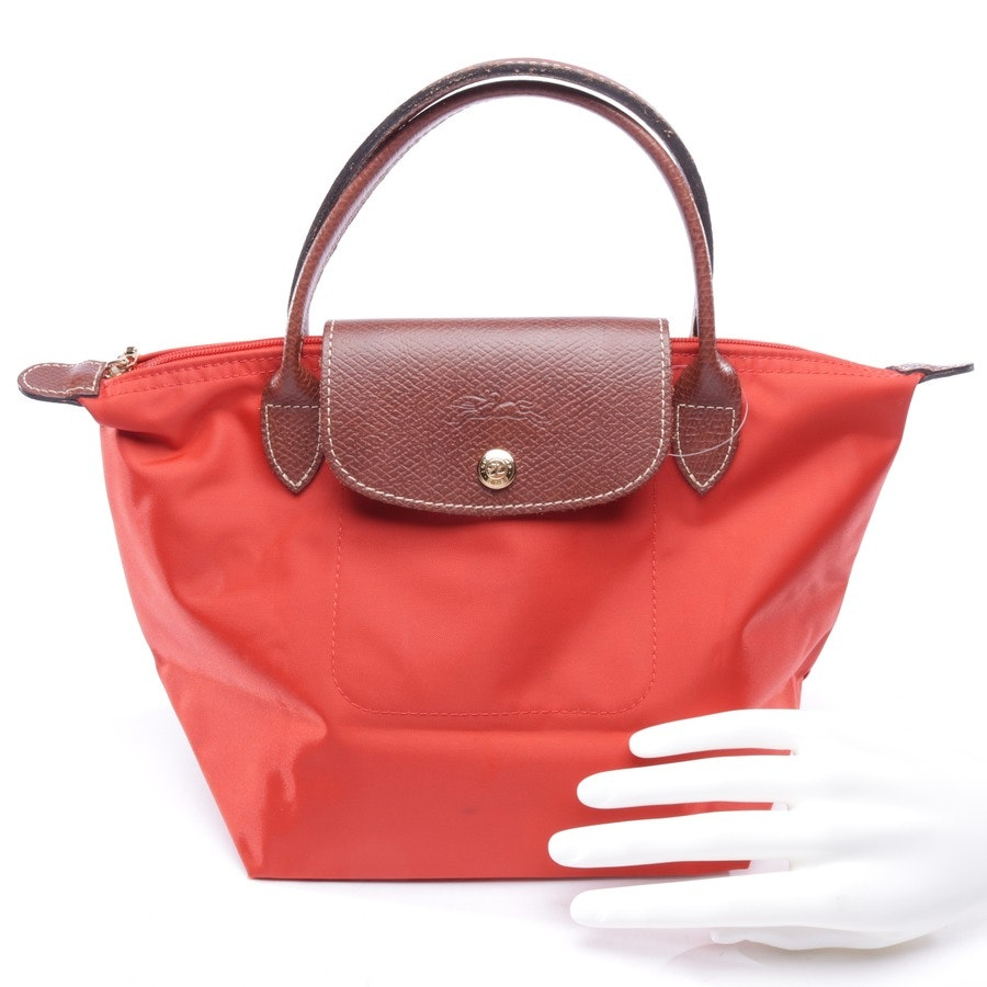 handbag from Longchamp in coral red and brown - le pliage s