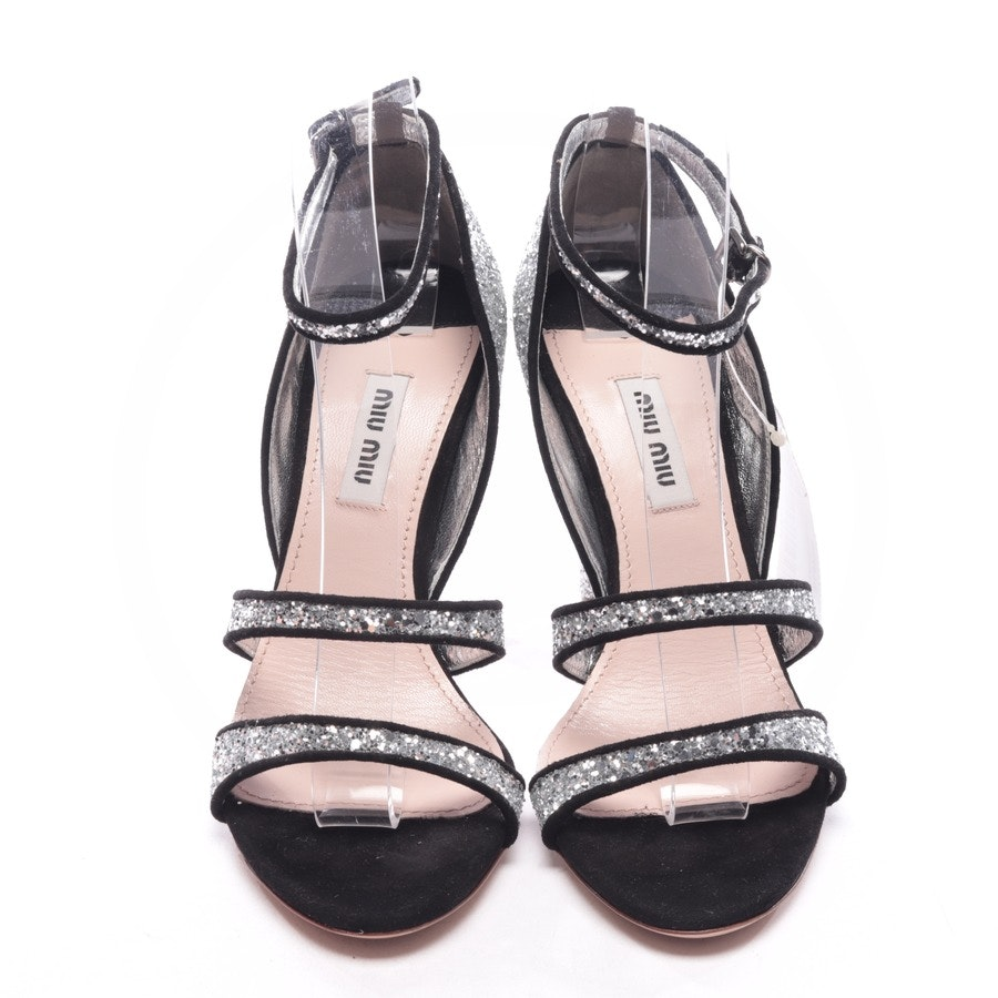 heeled sandals from Miu Miu in silver and black size D 36,5 - new