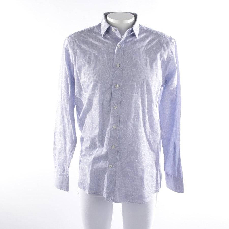 Hemd klassisch von Etro in Mittelblau und Weiß Gr. 43-44