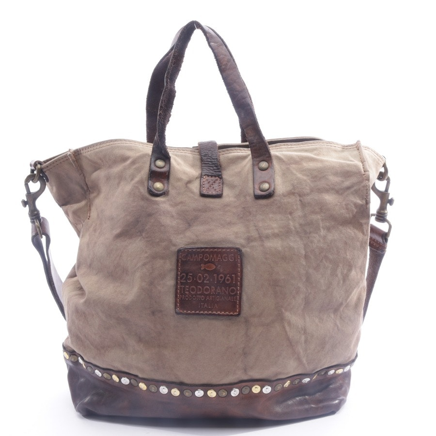 handbag from Campomaggi in taupe and brown