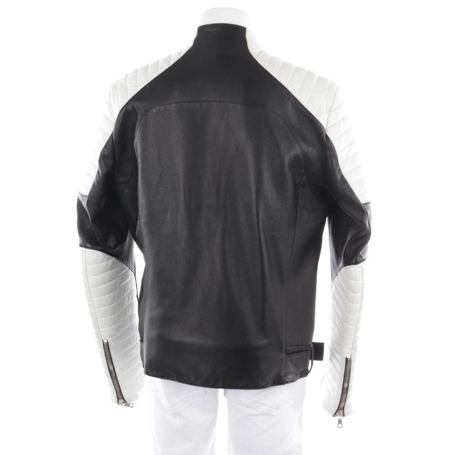 Lederjacke von Balmain in Schwarz und Weiß Gr. 52
