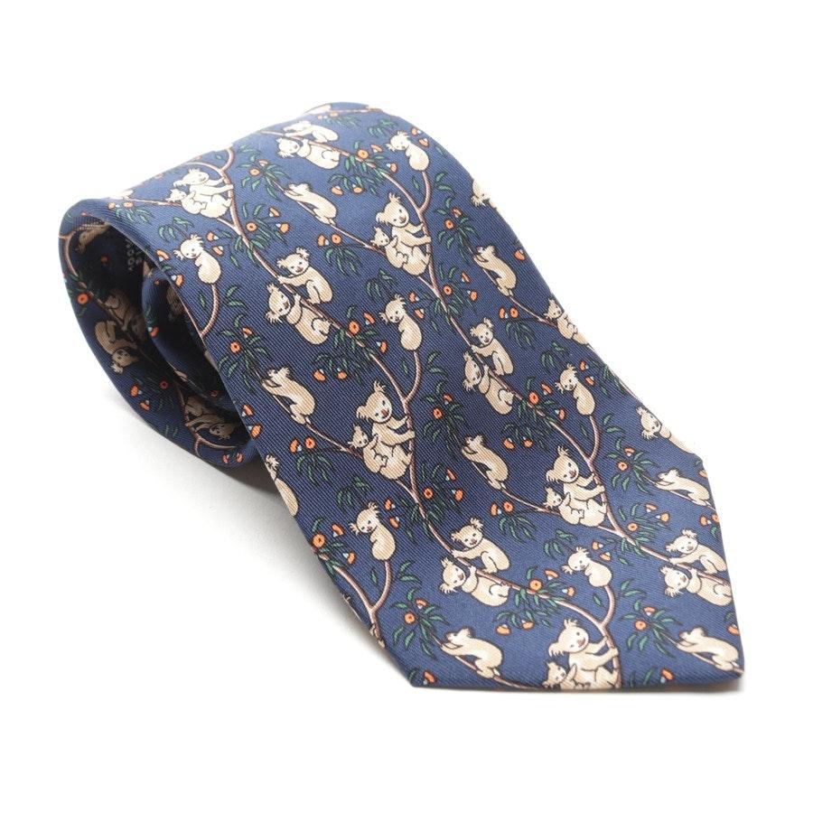 Seidenkrawatte von Hermès in Marineblau und Mehrfarbig