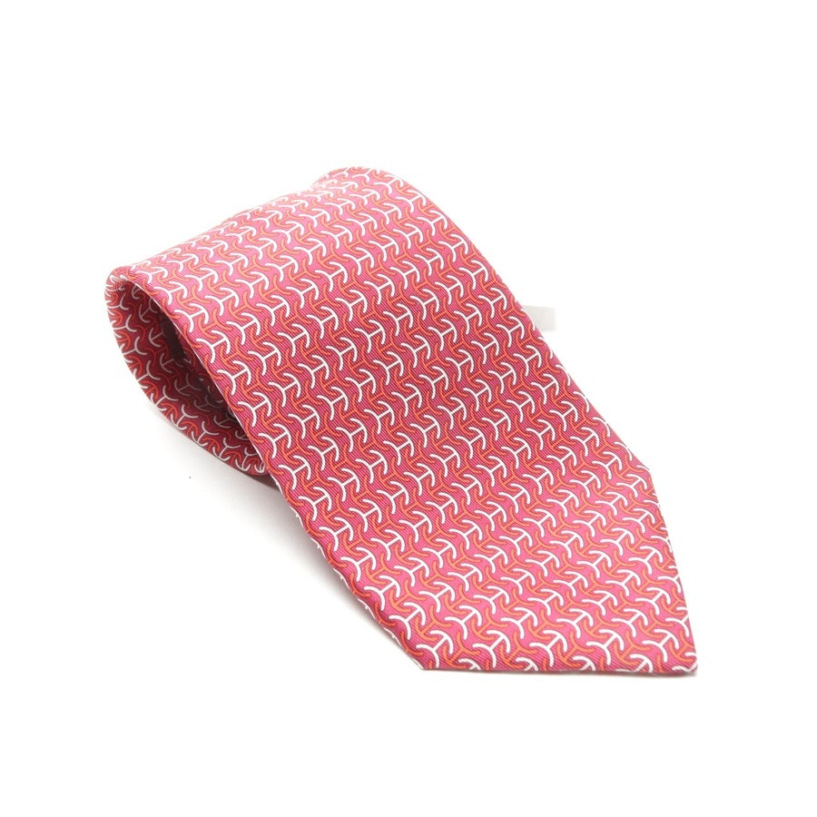 Seidenkrawatte von Hermès in Rot und Weiß