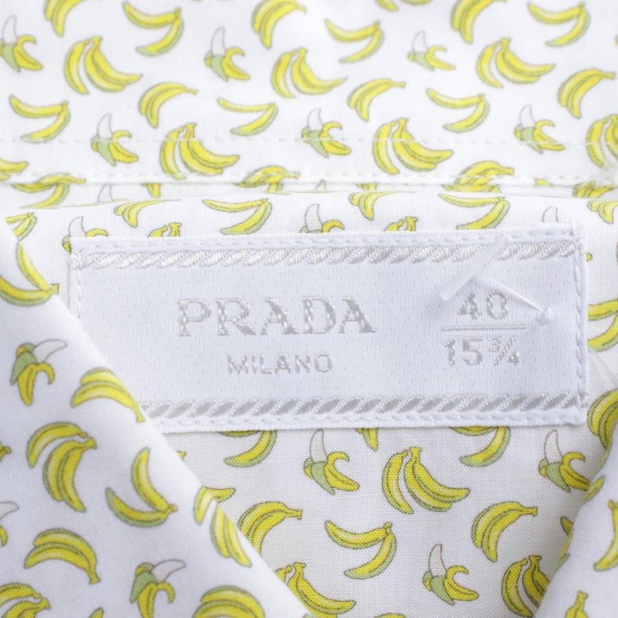 Hemd von Prada in Weiß und Gelb Gr. 40