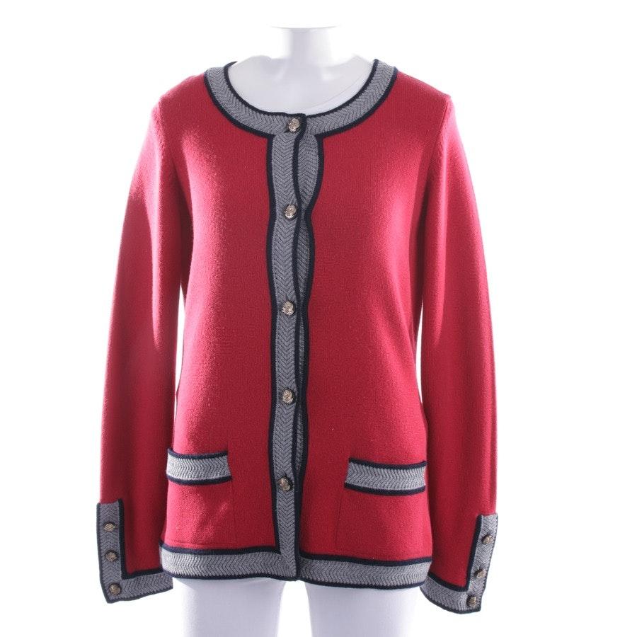 Kaschmirstrickjacke von Chanel in Rot und Dunkelblau Gr. 36 FR 38