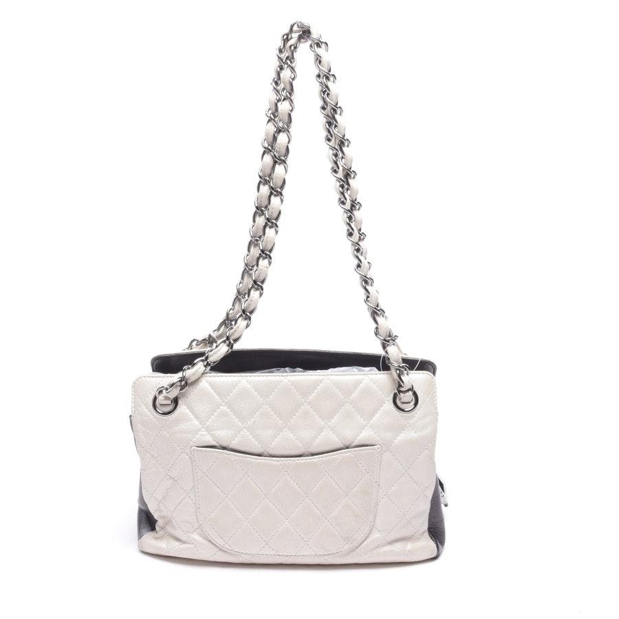 Schultertasche von Chanel in Elfenbein und Dunkelviolett Logo Chain Shoulder Bag