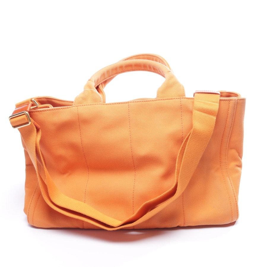 Handtasche von Prada in Dunkelorange und Silber Studded Canapa