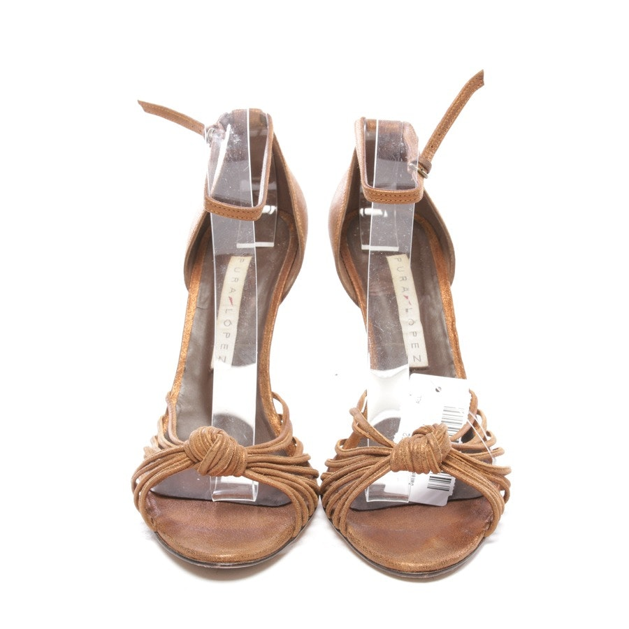 heeled sandals from Pura López in bronze and brown size D 37,5
